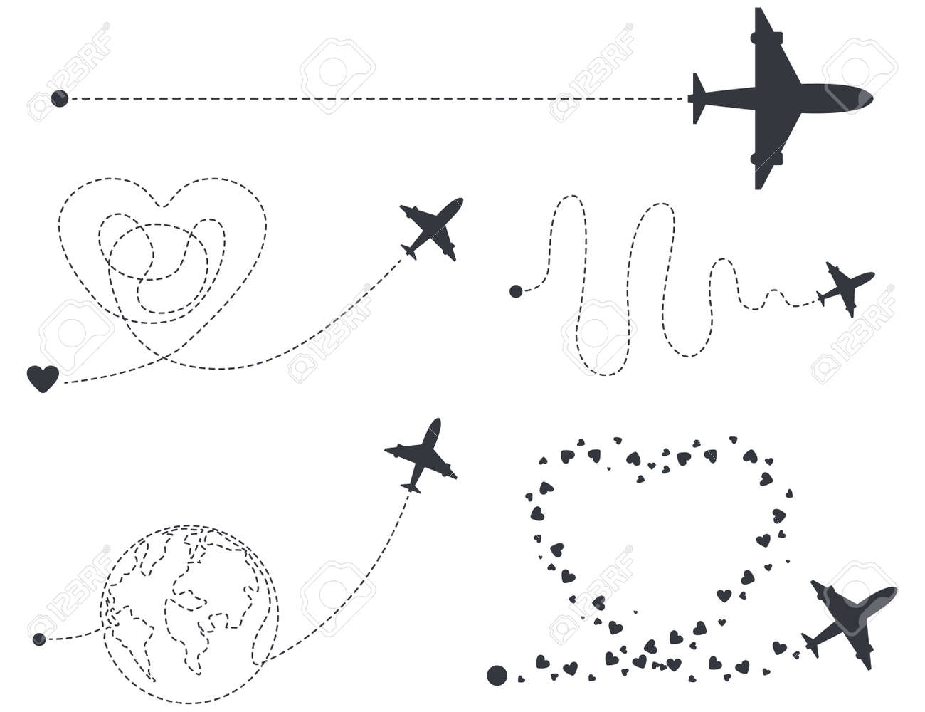 Airplane with start point and different dash line route vector silhouettes set isolated on a white background. - 172749558