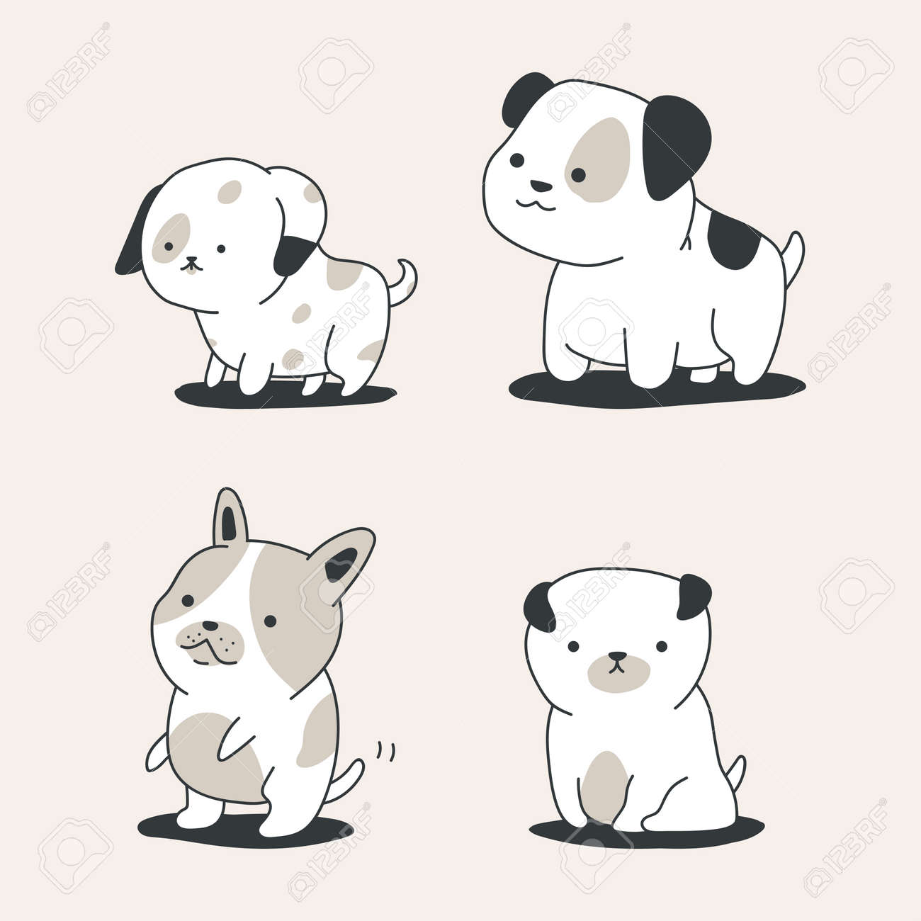 Cute outline dogs vector cartoon set isolated on background. - 172749593