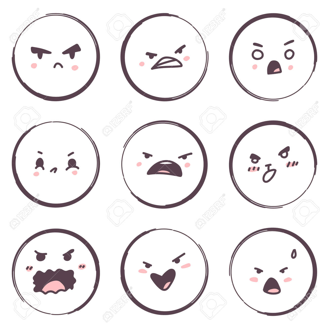 Angry cartoon face emotions vector set isolated on a white background. - 172750155
