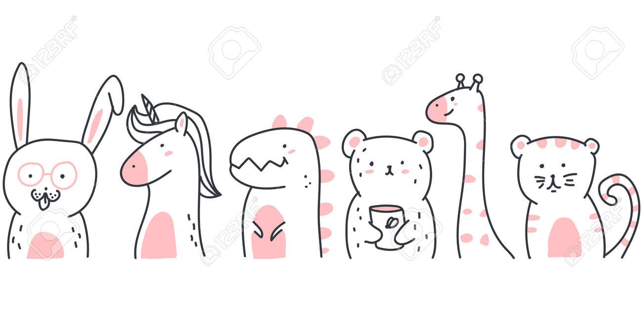Cute sketch animals vector cartoon illustration isolated on a white background. - 173241350