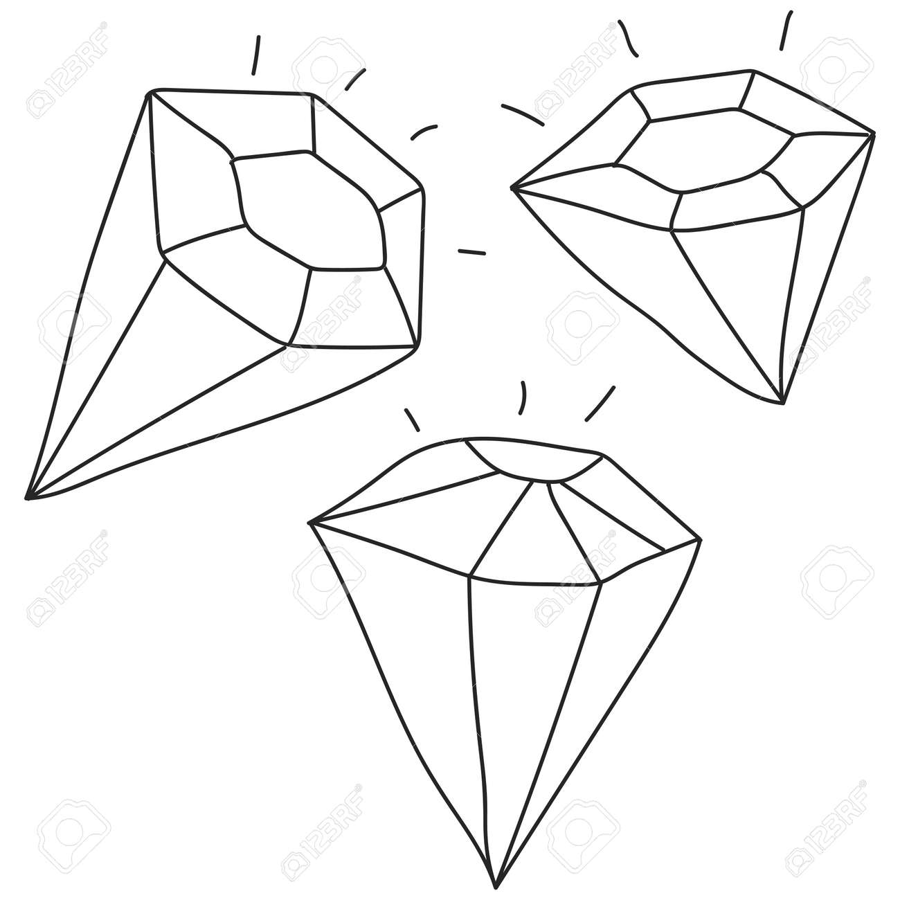 Diamond hand drawn sketch vector set isolated on a white background. - 172749778