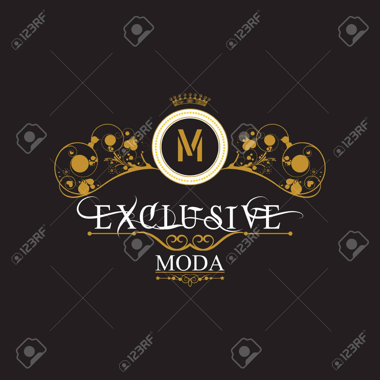 Vintage gold antique frame on black. EXCLUSIVE MODA. Logo expensive and exclusive - 57263758