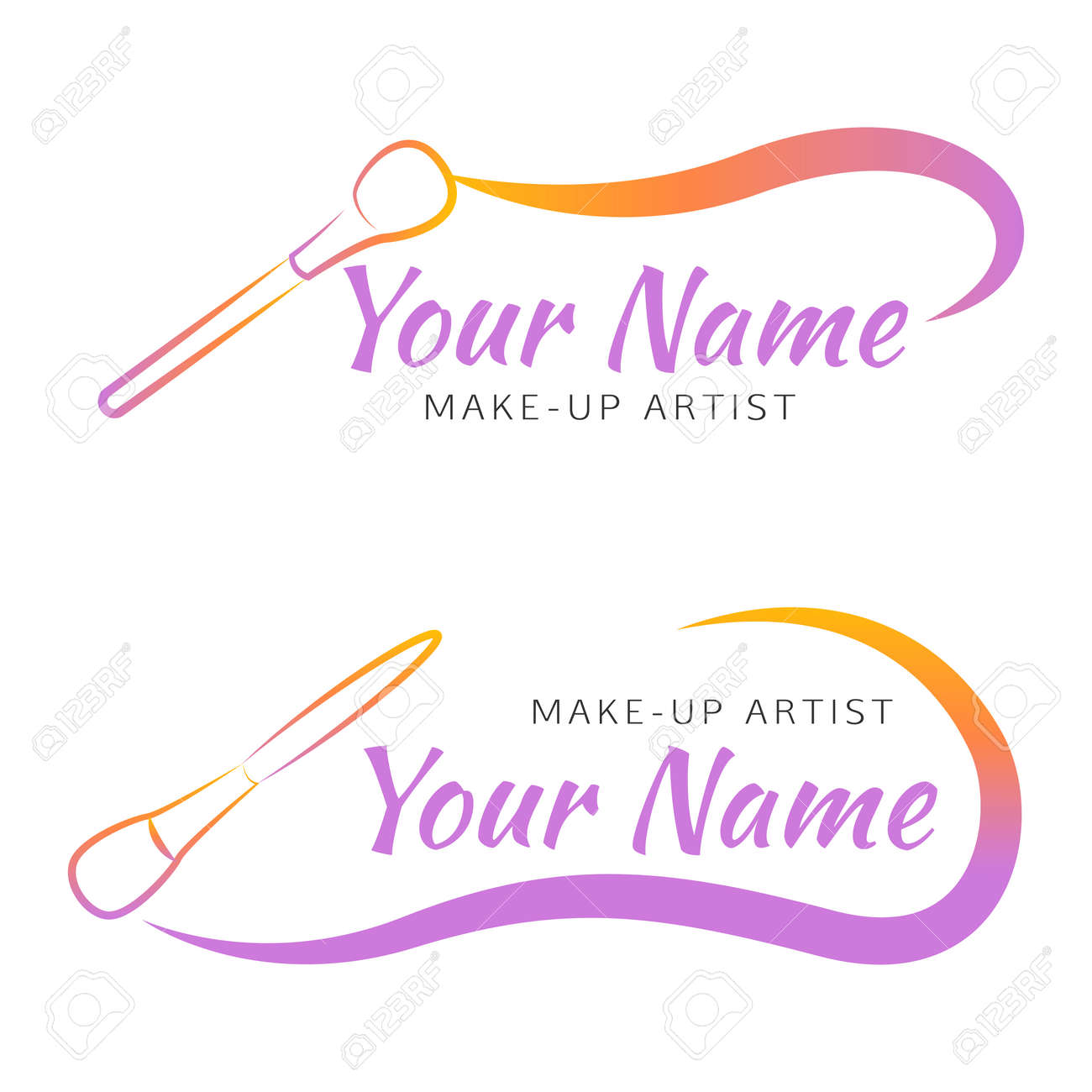 Makeup Brush With Curved Line Abstract Design Concept For Beauty Salon Artist