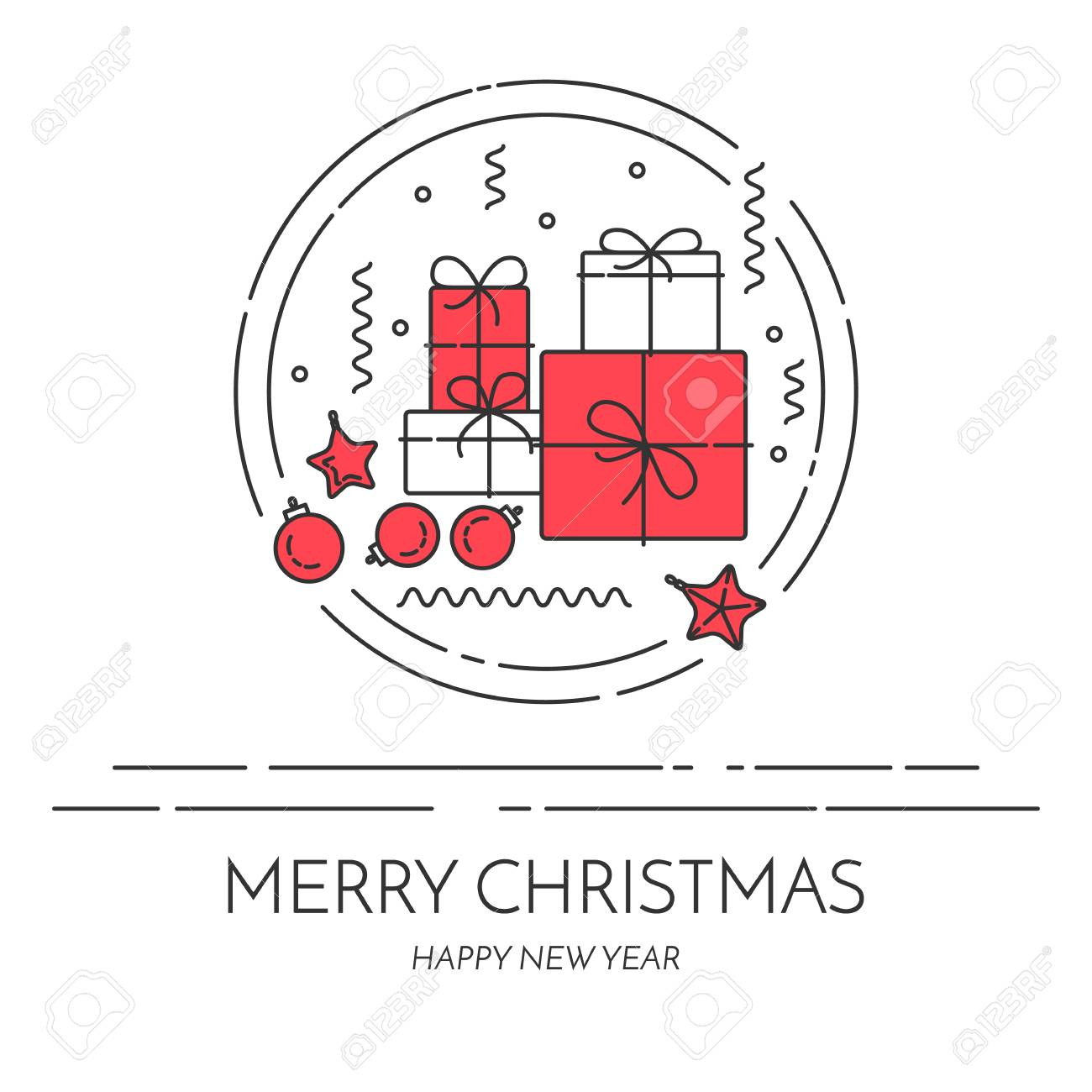 Christmas And New Year Horizontal Banner With Gifts And Decorations ...