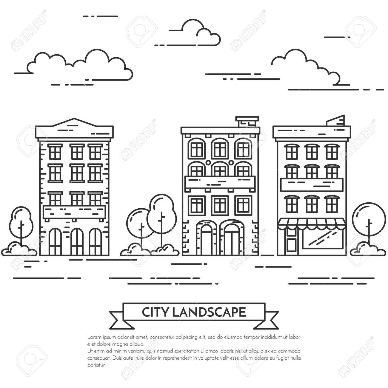 Vettoriale Paesaggio Della Città Con Case Alberi E Nuvole