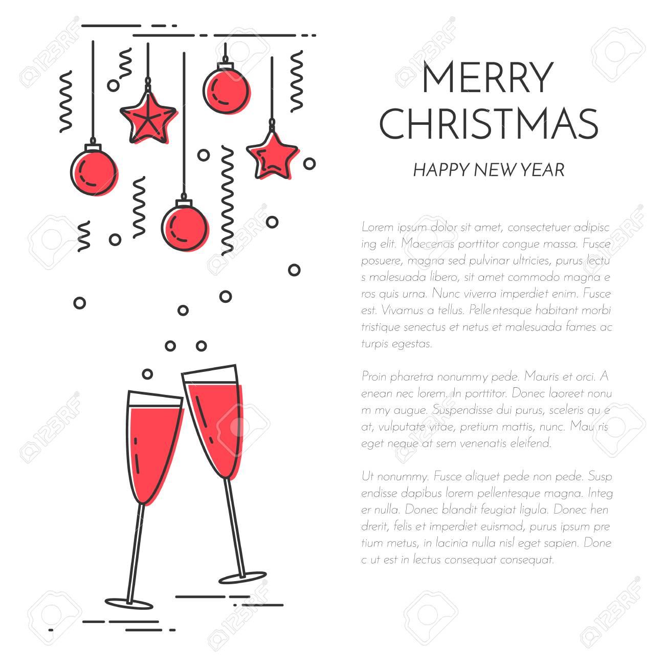 66069818 Bannire Verticale De Nol Avec Du Champagne Cadeau Dessin Au Trait Plat Illustration Vectorielle Concep