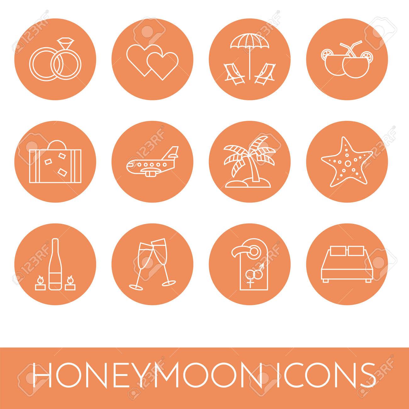 Set of thin line icons with honeymoon symbols wedding trip set of thin line icons with honeymoon symbols wedding trip pictograms of rings hearts buycottarizona Choice Image