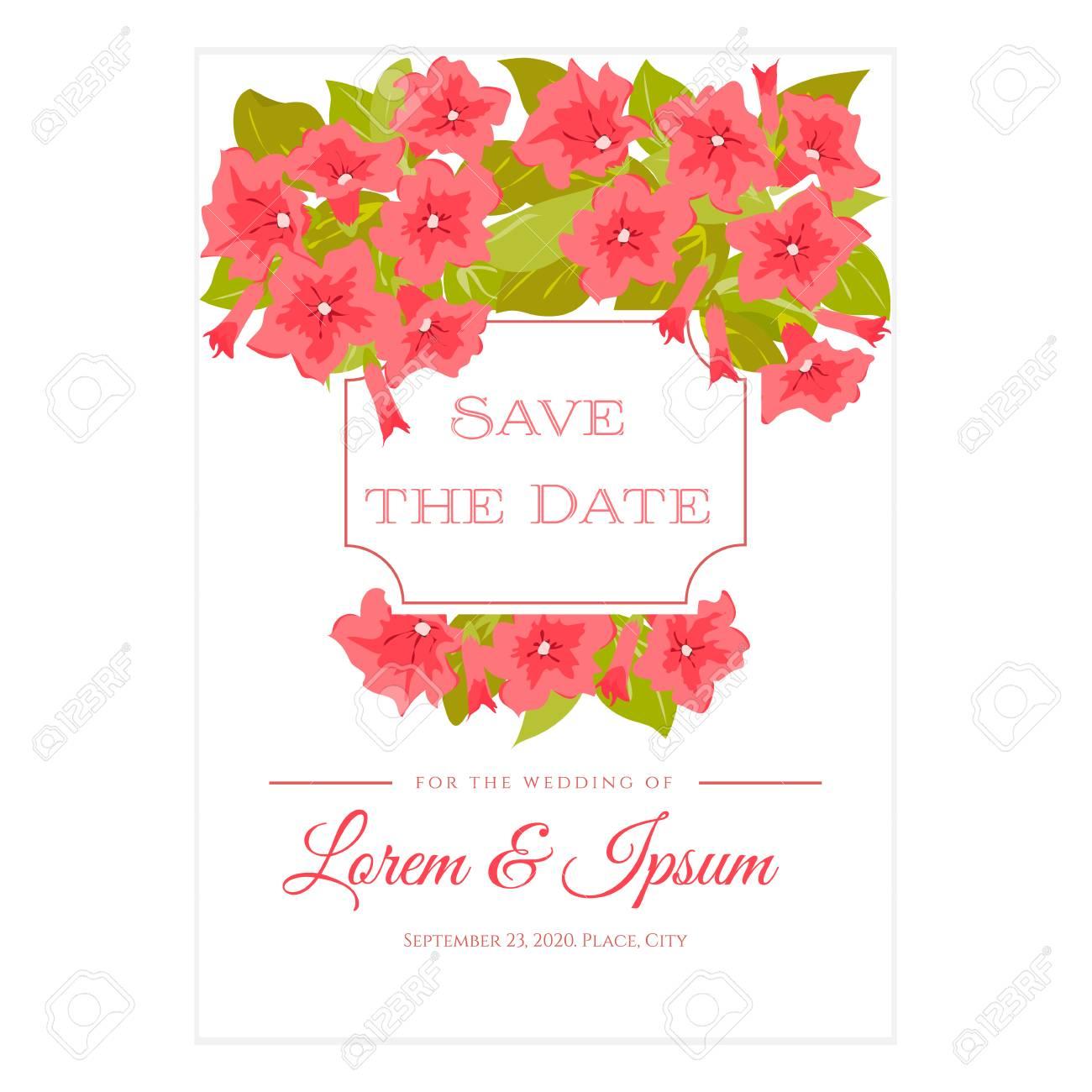 Rosa Vintage Blumen Um Den Rahmen Mit Zeichen Fur Hochzeitseinladung