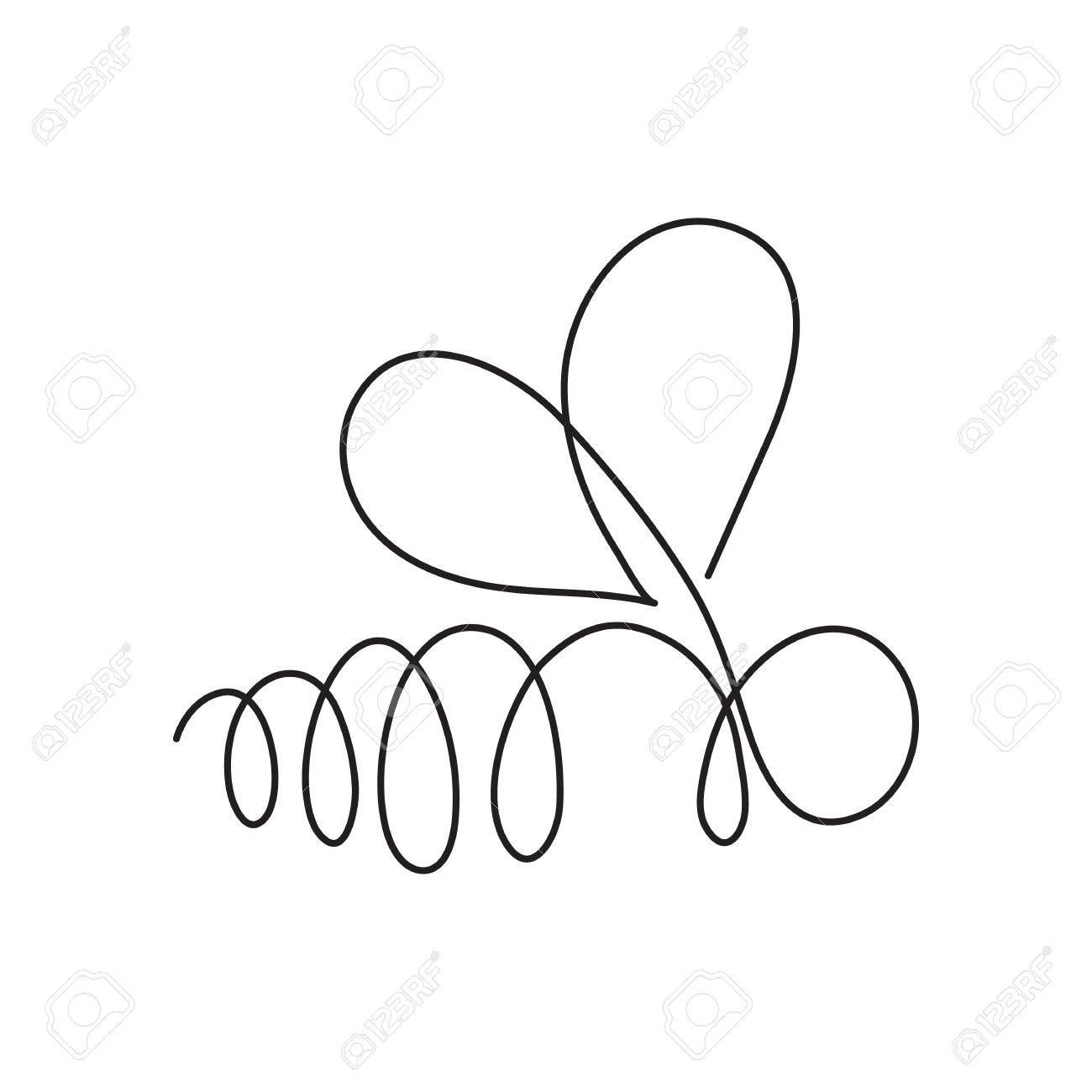 Continuous Line Bee Abstract Modern Decoration Vector Illustration One Drawing Of Insect