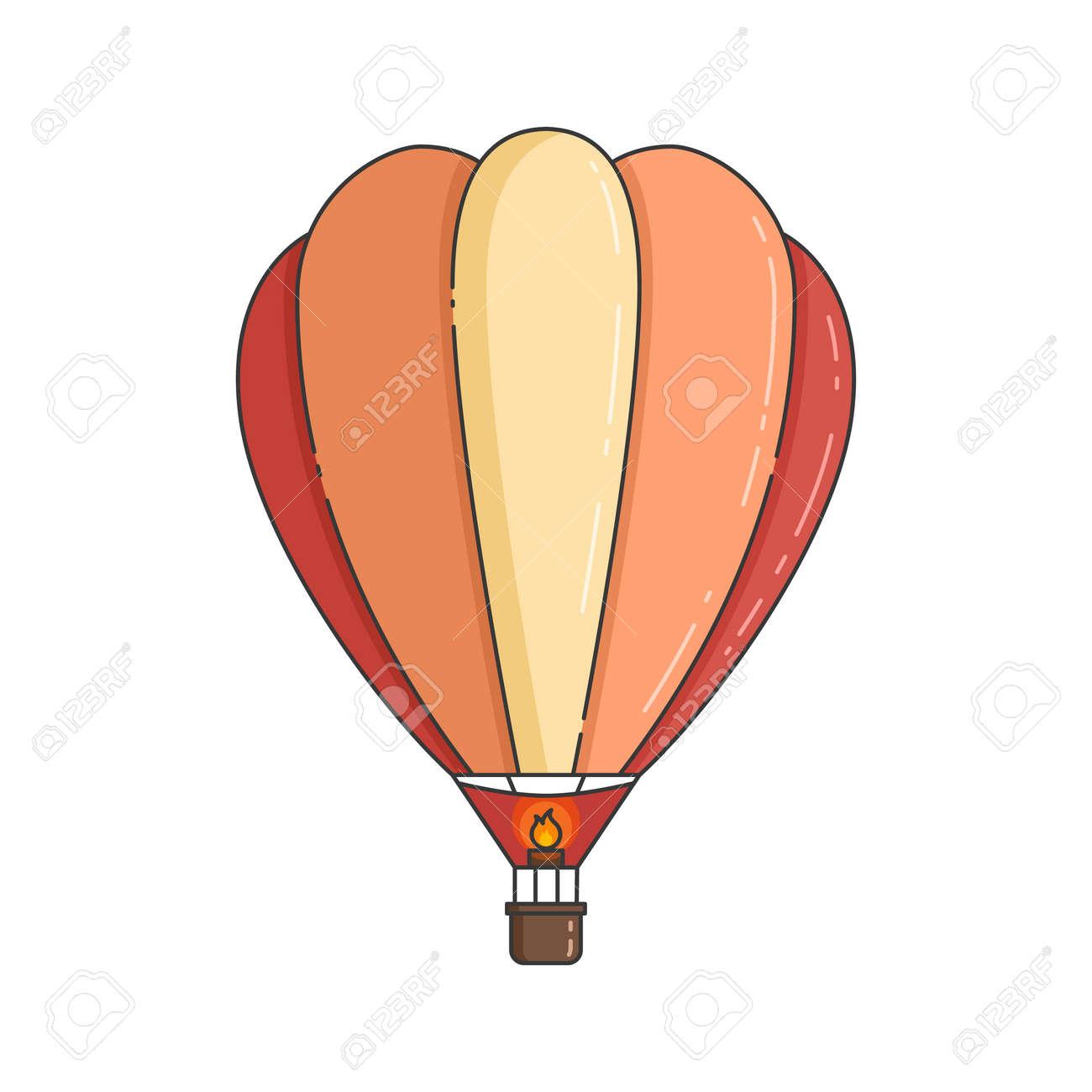 Färben Sie Den Heißluftballon, Der Auf Weißem Hintergrund ...