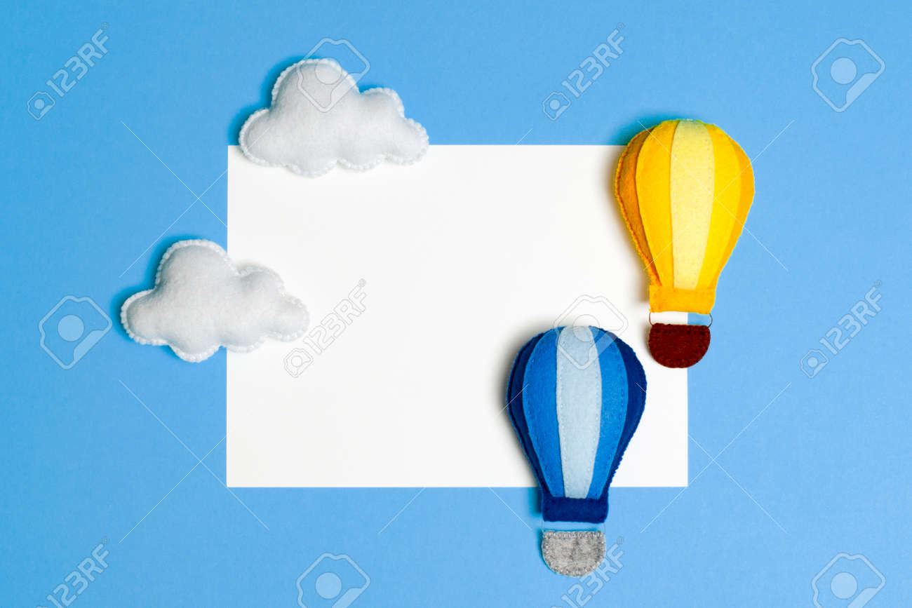 Hot Air Balloon In Blue Sky With Clouds Frame Copyspace Hand