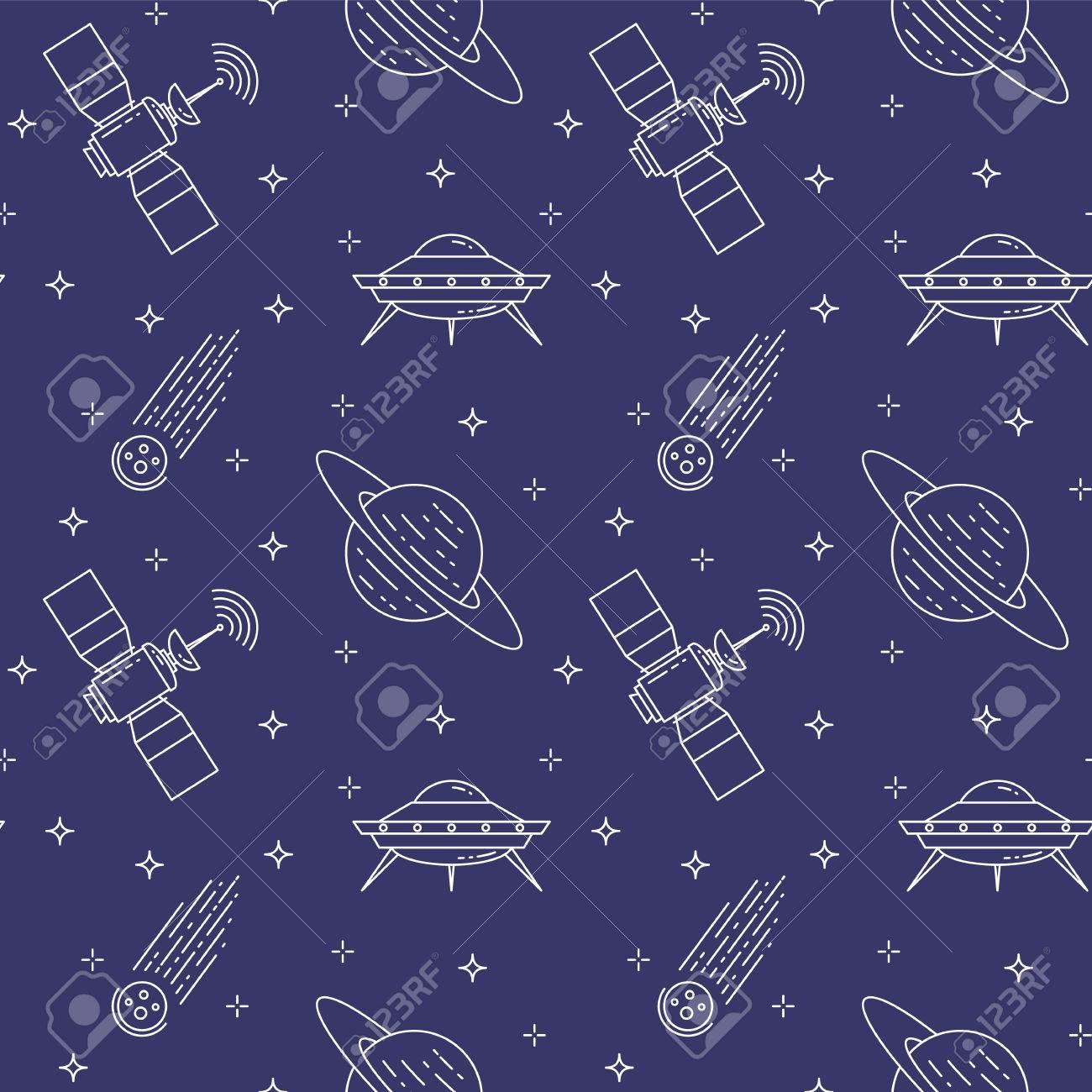 Iconos De Líneas De Viajes Espaciales. Elementos De Ufo, Cometa ...