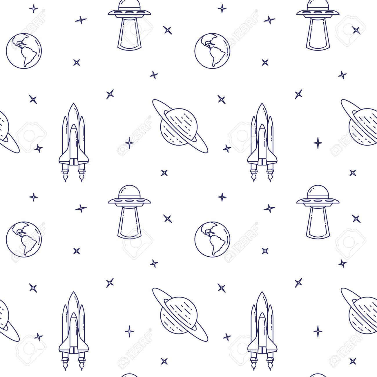 Iconos De Línea De Viajes Espaciales. Elementos De OVNI, Cometa ...