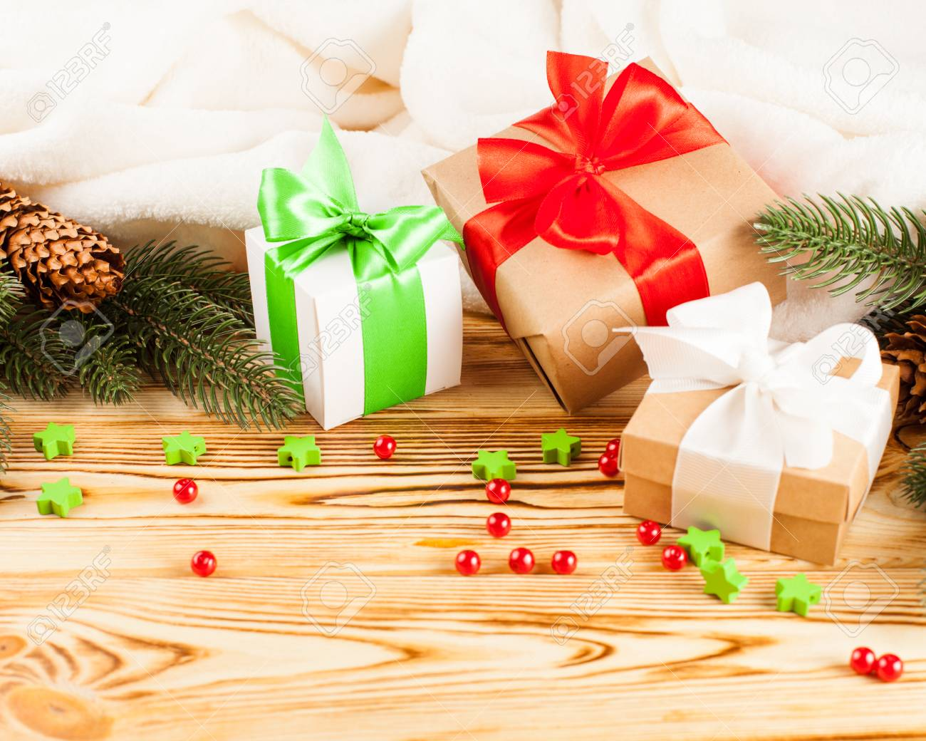 Craft Gift Boxes With Color Ribbon And Bow Green Christmas Tree Stock Photo Picture And Royalty Free Image Image 87986925