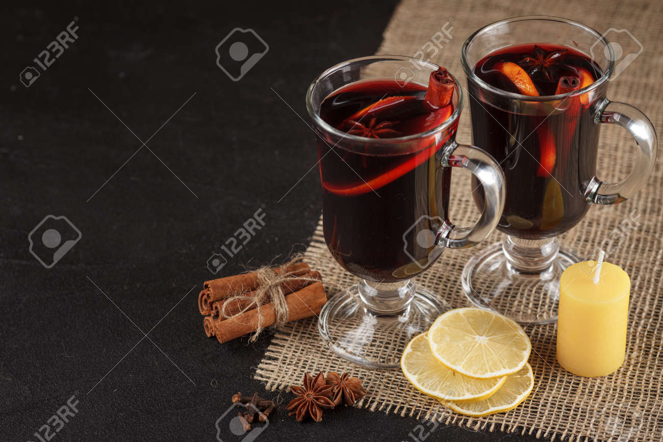 Mulled Wine Banner Glasses With Hot Red Wine And Spices On Dark Stock Photo Picture And Royalty Free Image Image 87987007