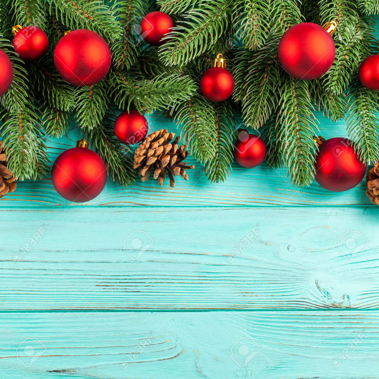 Christmas Banner With Green Tree Red Ball Decorations Cones Stock Photo Picture And Royalty Free Image Image 88717582