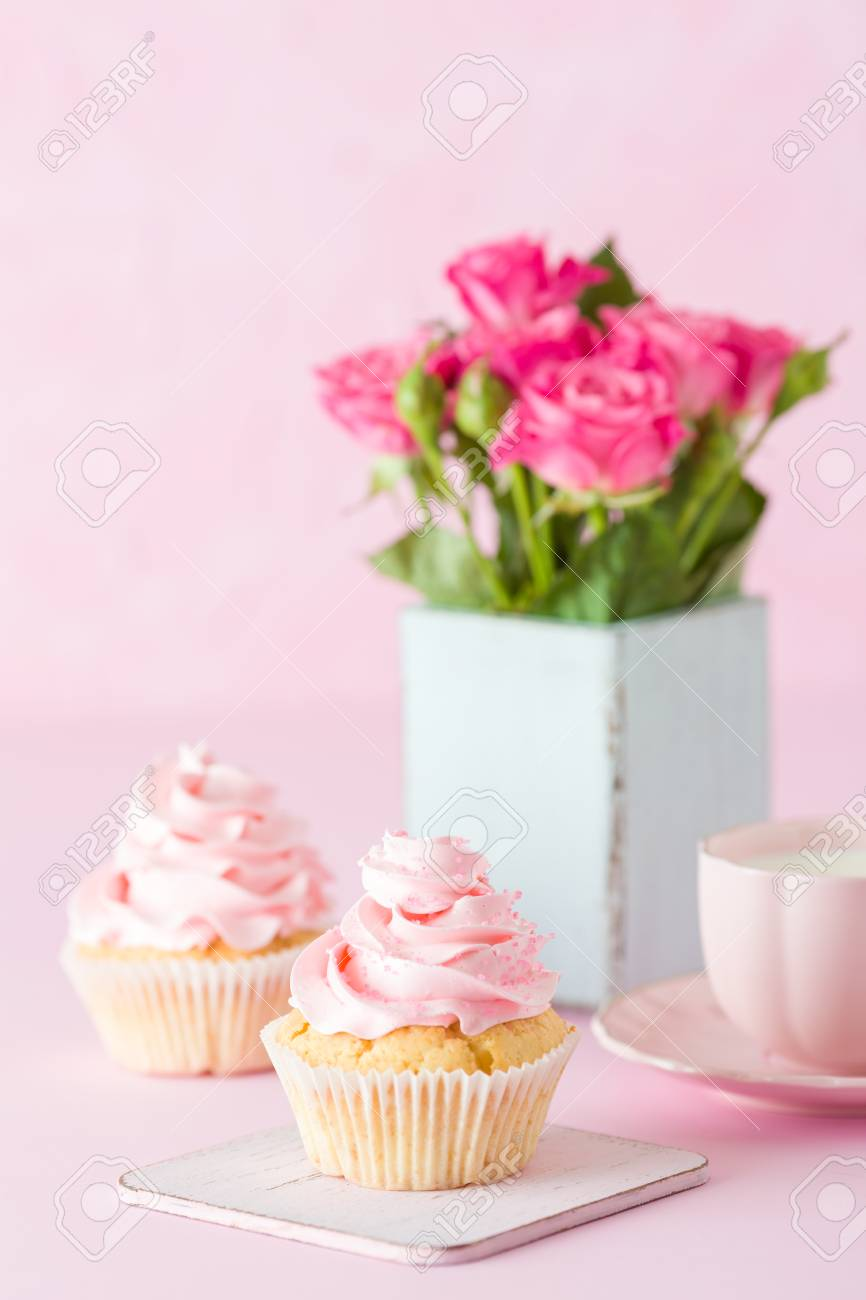 Pink Pastel Vertical Banner With Decorated Cupcakes, Cup Of Coffe ...