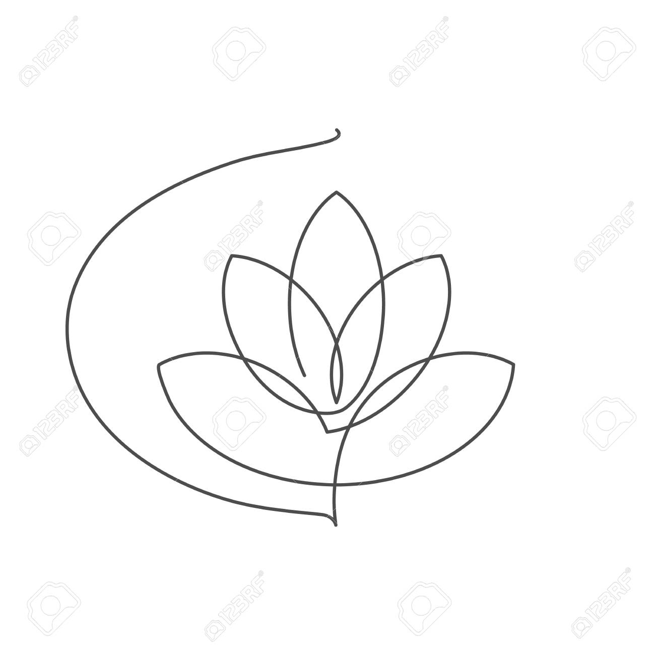 Flower lotus continuous line vector illustration with editable stroke - single line drawing of beautiful water lily for floral design or logo isolated on white background. - 109077683