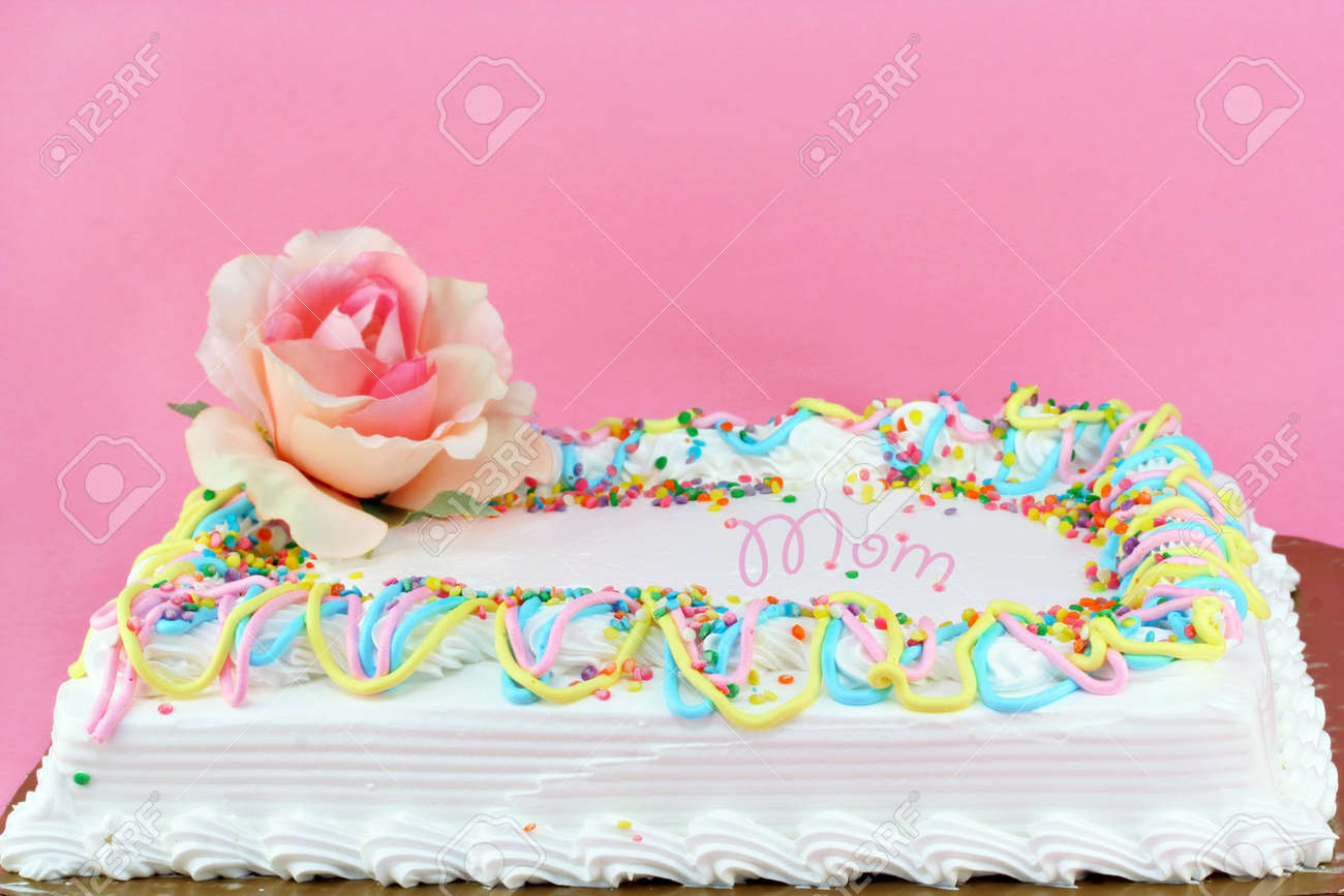 Beautifully Decorated Sheet Cake For Mom With A Rose At The Corner Sprinkles And Swirled