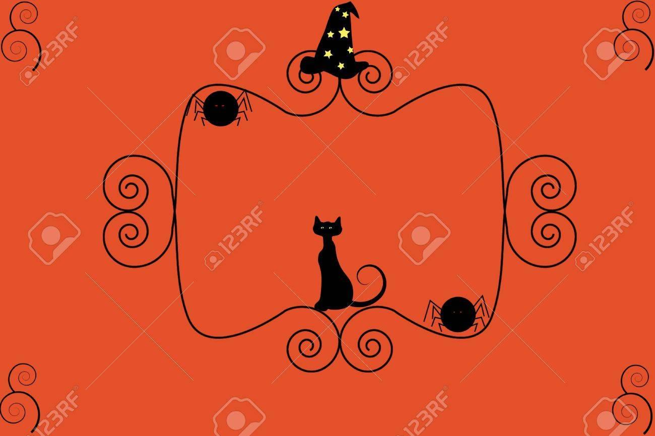 Un Gato Negro, Sombrero De Brujas Y Arañas Se Sientan En Un Marco ...
