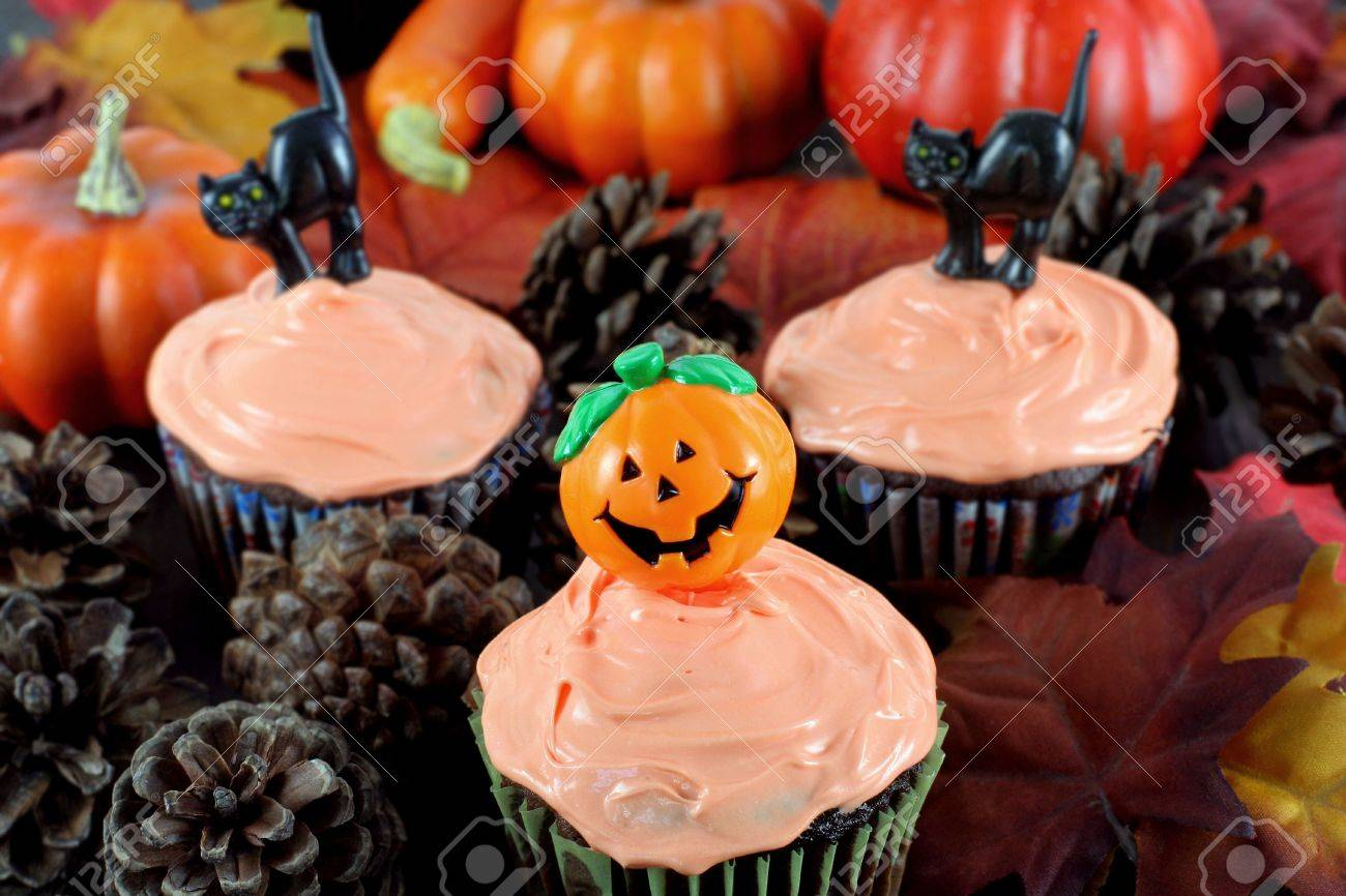 halloween decorated cupcakes among pine cones and fall leaves in an evening atmosphere stock - Halloween Decorated Cupcakes