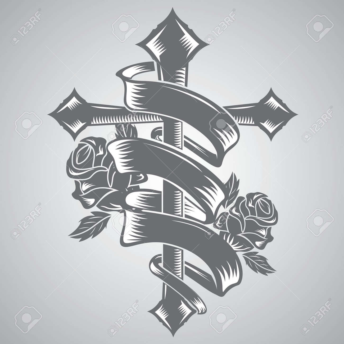 Cross With Ribbon Tattoo Vector Royalty Free Cliparts Vectors And