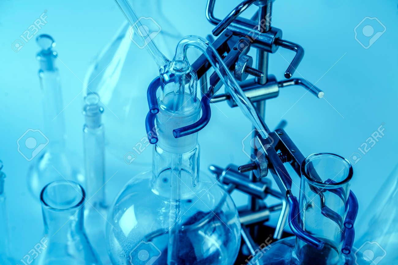 Empty flasks. Laboratory analysis equipment. Chemical laboratory, glassware test-tubes. - 164657692