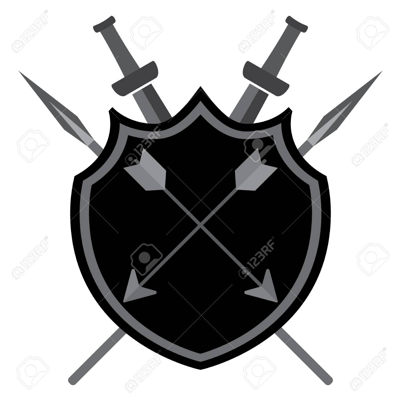 Shield with arrows swords and spears on a white background