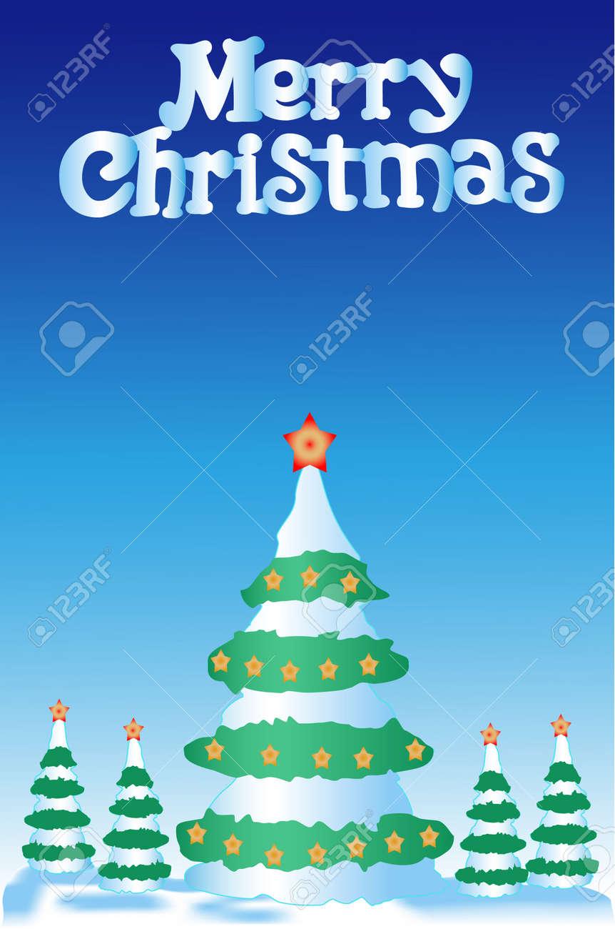 Immagini Piccole Di Natale.Pelliccia Albero Di Natale Piu 4 Piccole Pellicce Alberi E Su Sfondo Blu Scuro Con Asterischi Su Cime