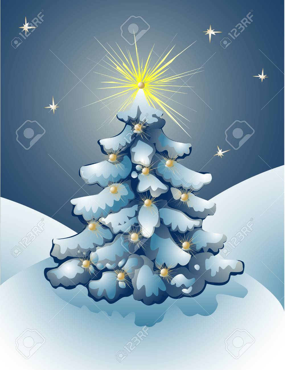 Christmas tree with sparkling balls on branches and stars in the sky. Stock Vector - 8116758