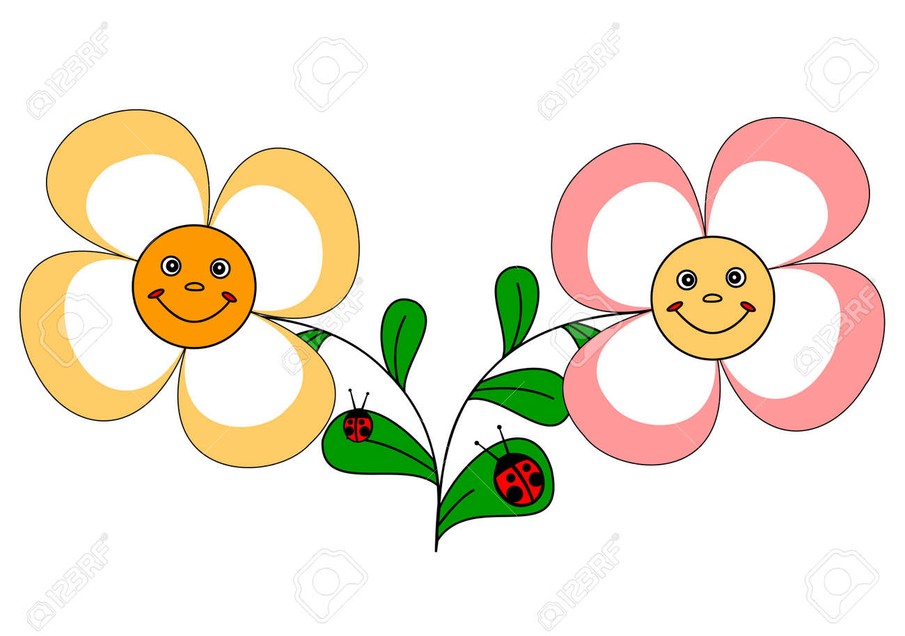 Illustration of two funny flowers and ladybirds on a white background Stock Vector - 9615647