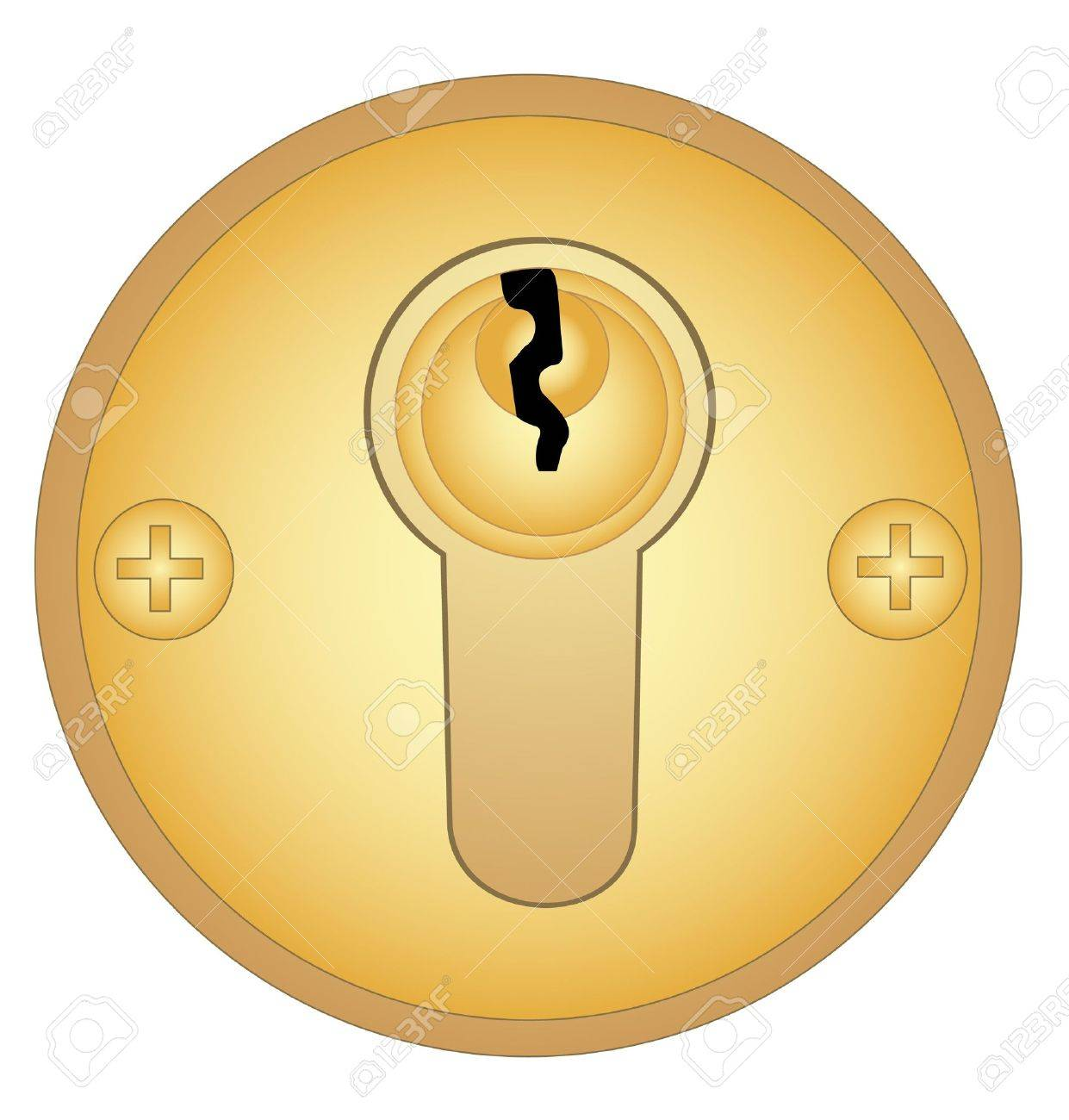 Illustration of a gold keyhole on a white background Stock Vector - 10011463