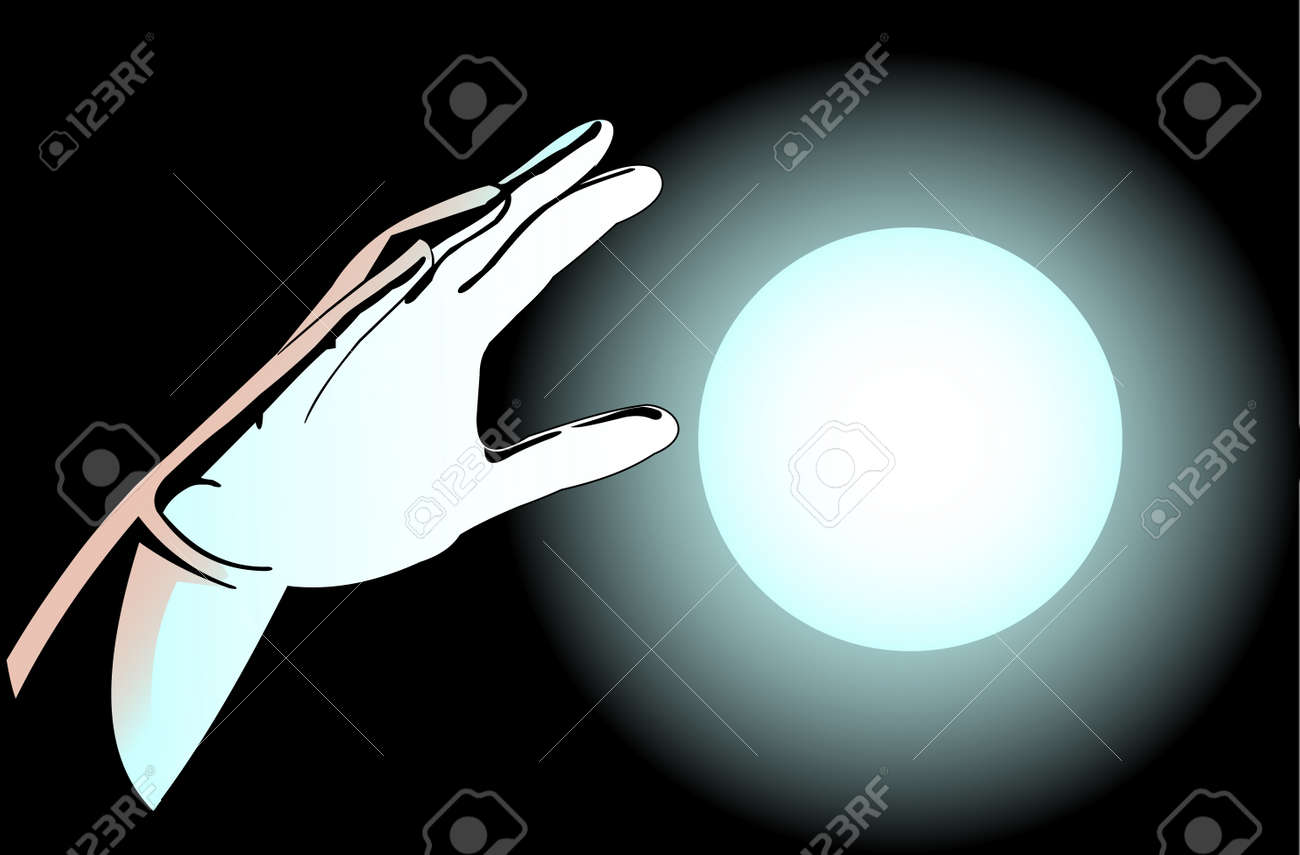 Illustration of hands and the magic ball on a dark background Stock Vector - 12792917