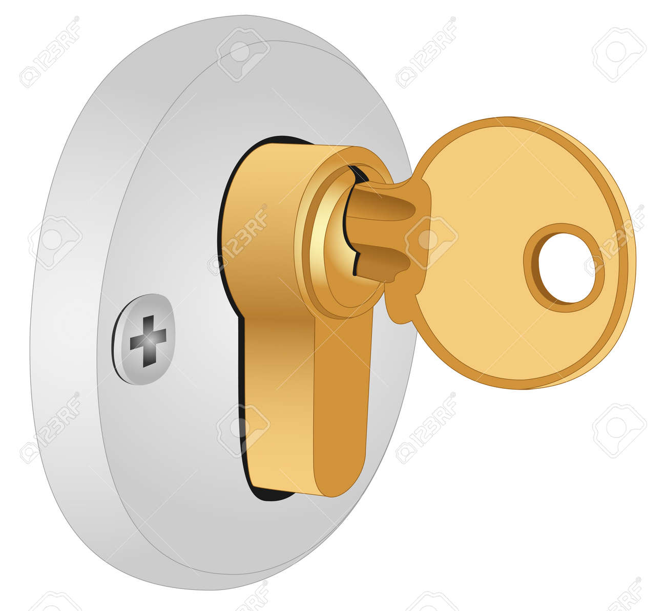 Illustration of the key in the lock on a white background Stock Vector - 13829578