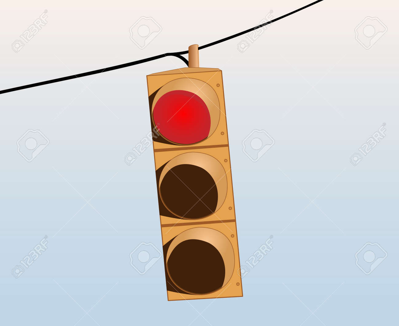Illustration of a red traffic signal on the wire against the sky Stock Vector - 14154352
