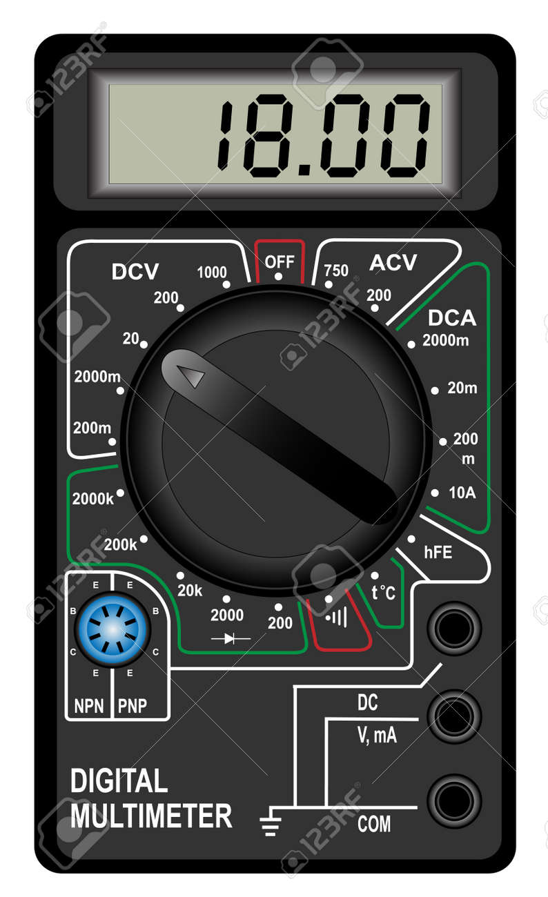Illustration of the digital multimeter on a white background Stock Vector - 14560097