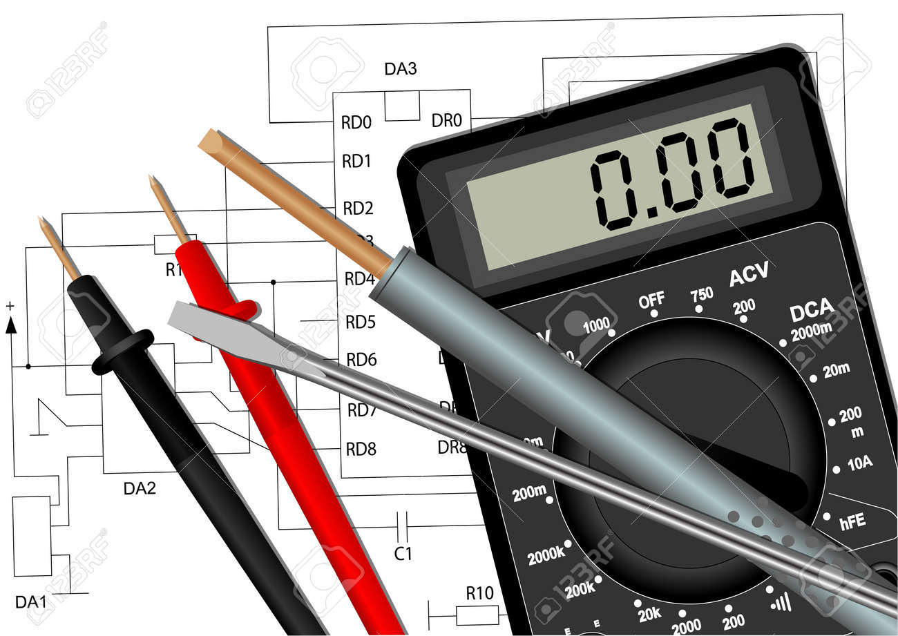Awe Inspiring Illustration Of A Soldering Iron A Screwdriver And A Multimeter Wiring Cloud Geisbieswglorg