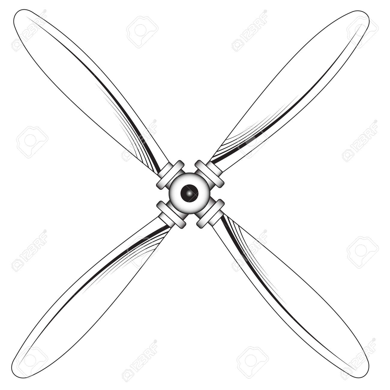 Ilustración De Una Hélice Con Cuatro Cuchillas Sobre Un Fondo Blanco ...