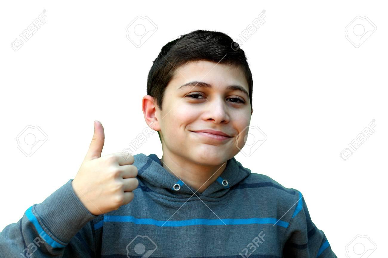 Boy signaling ok, isolated on white Stock Photo - 8916126