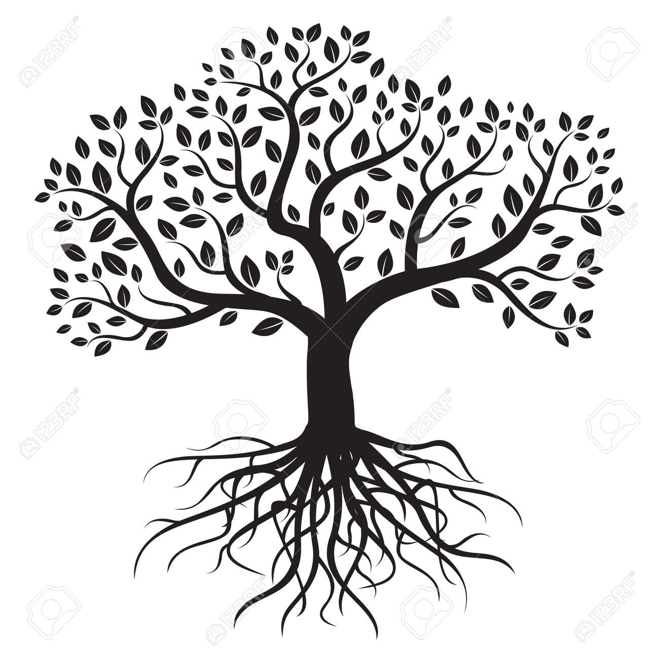 Vector tree with roots and leafs. - 40040049