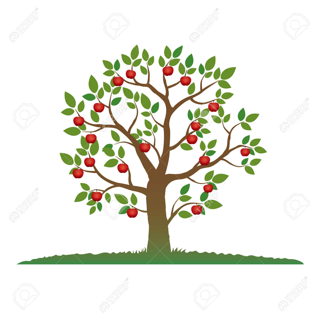 Color Tree And Red Apples Royalty Free Cliparts, Vectors, And Stock ...