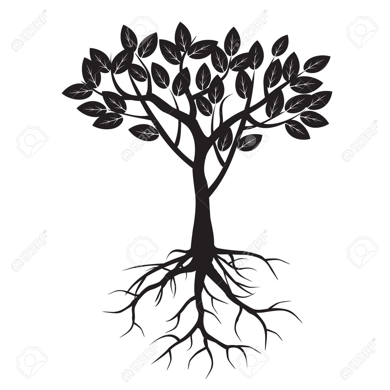black tree and roots vector illustration royalty free cliparts rh 123rf com tree silhouette roots vector free tree roots vector ai