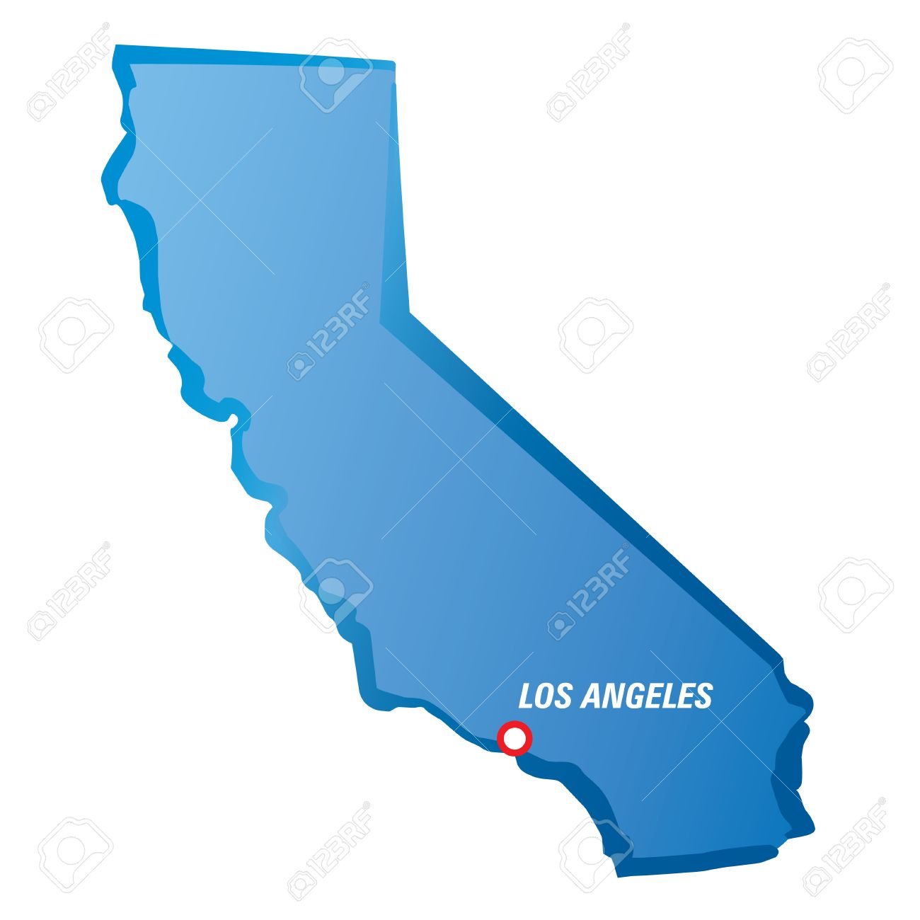 Map Of California And Los Angeles Vector Illustration Royalty Free