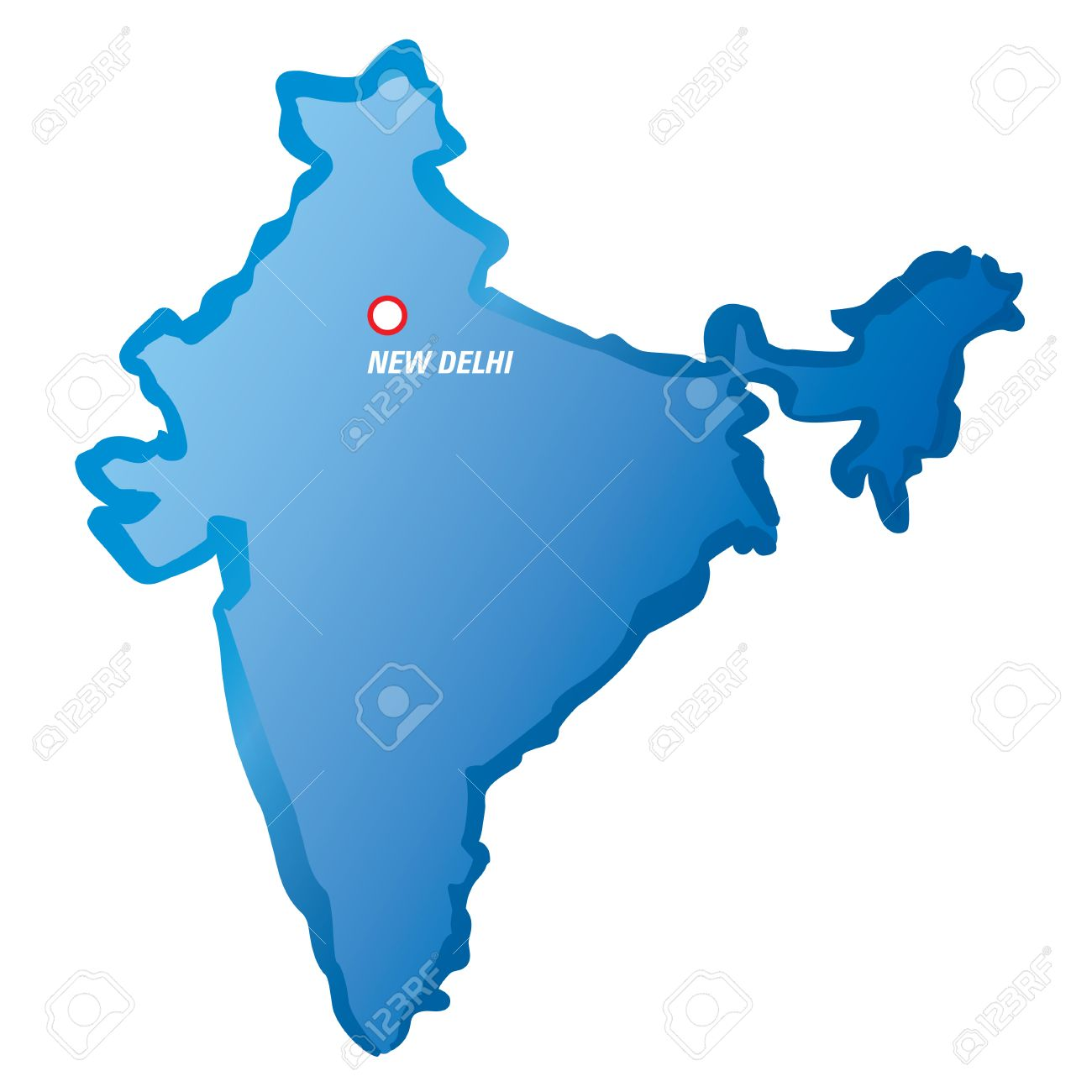 Blue Map Of India And New Delhi Royalty Free Cliparts Vectors And