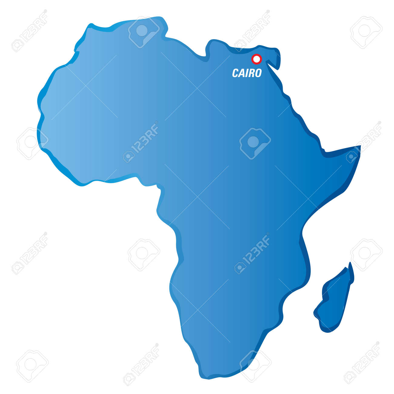 Blue Map Of Africa And Cairo. Royalty Free Cliparts, Vectors, And