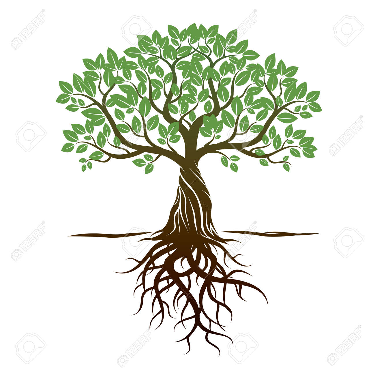 color tree roots and background vector illustration royalty free rh 123rf com tree with roots clipart black and white tree with roots clipart free