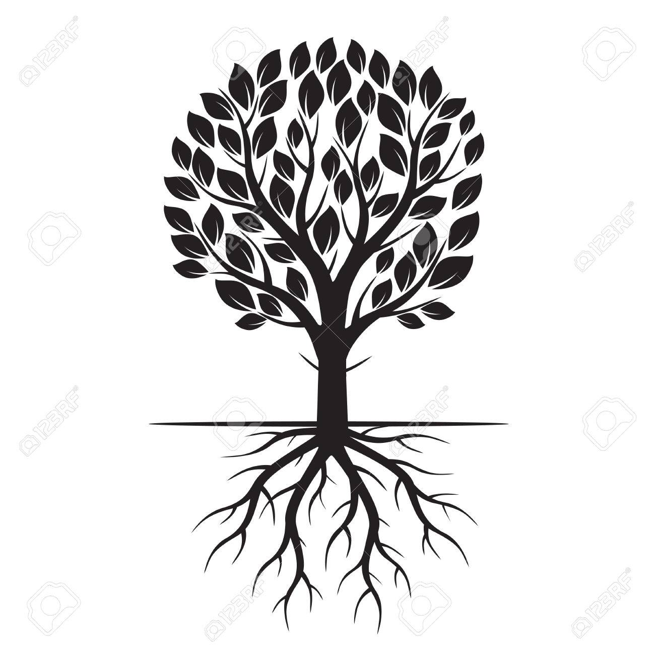 black eco tree and roots vector illustration royalty free cliparts rh 123rf com tree with roots silhouette vector free tree with deep roots vector