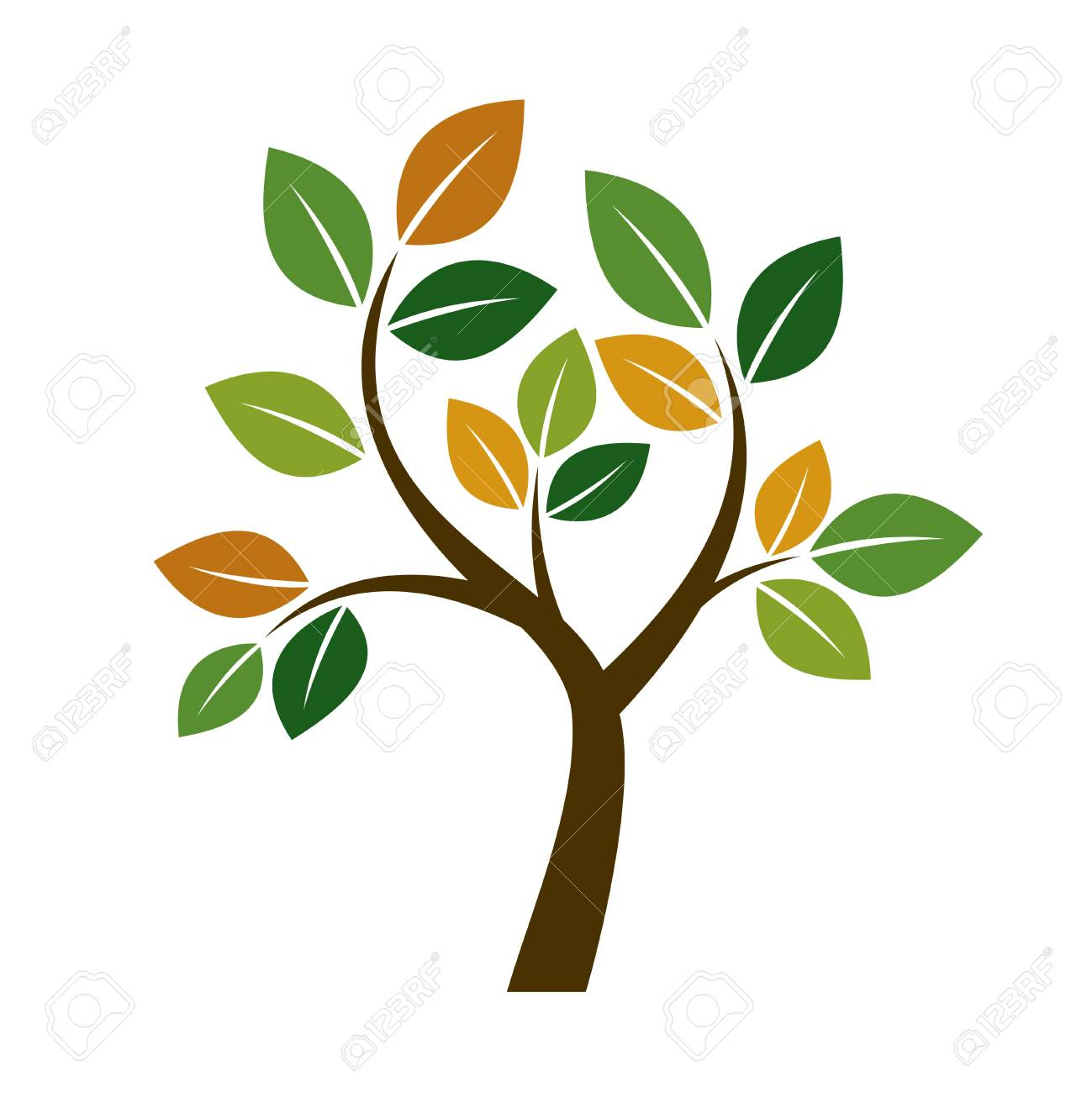 Color Tree Illustration. Nature And Garden Royalty Free Cliparts ...