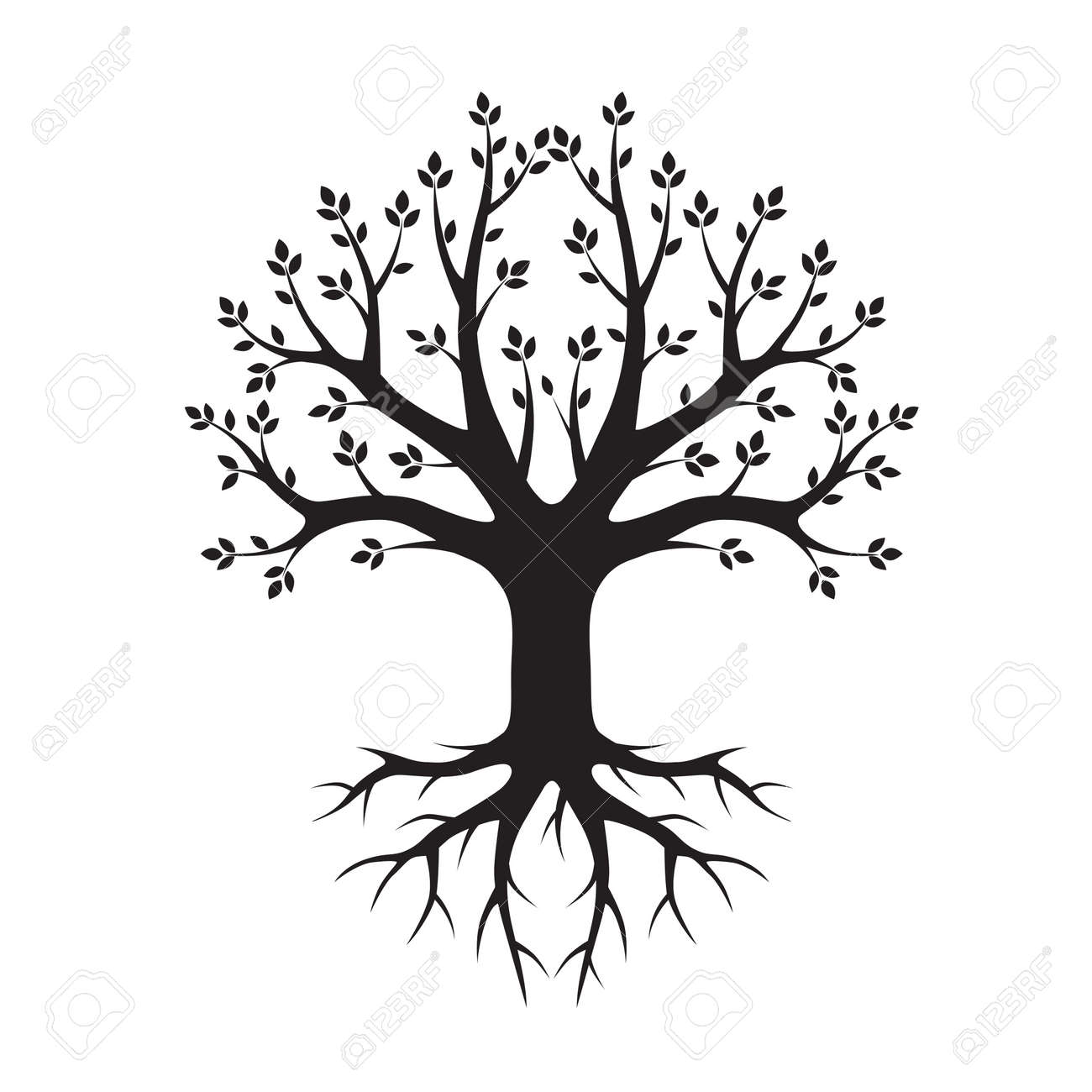 black tree and roots vector illustration royalty free cliparts rh 123rf com tree with roots silhouette vector free tree with roots vector logo