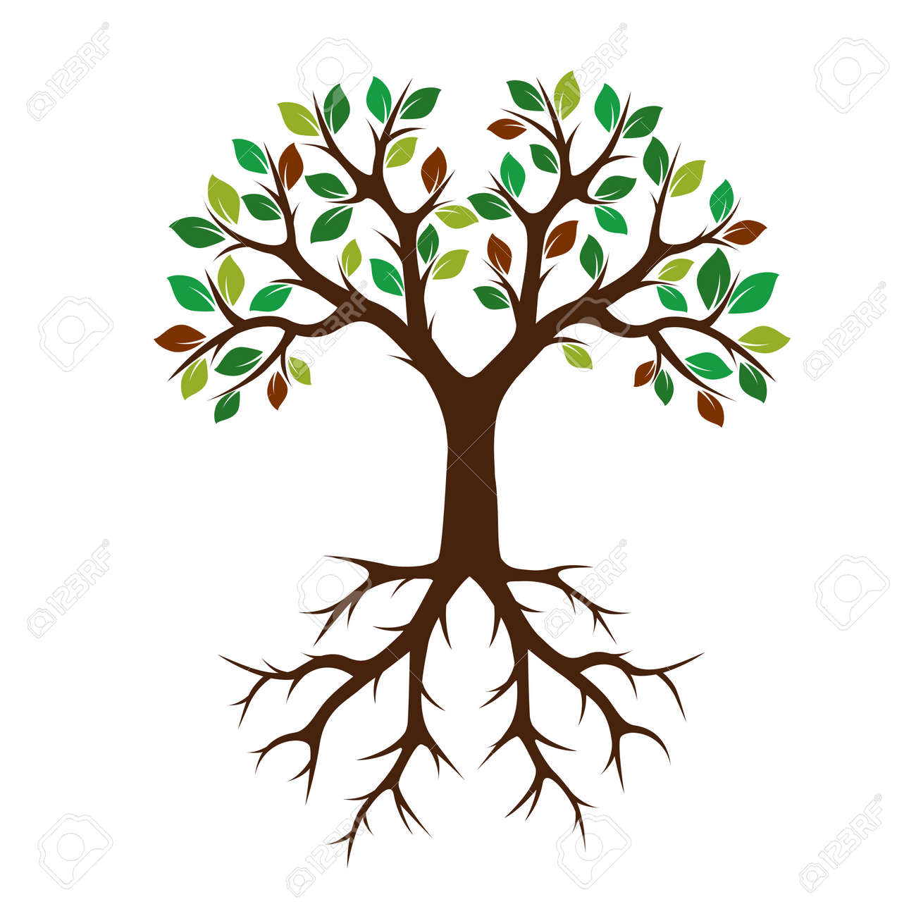 color tree with roots vector illustration and graphic element rh 123rf com tree with roots silhouette vector free transparent tree with roots vector